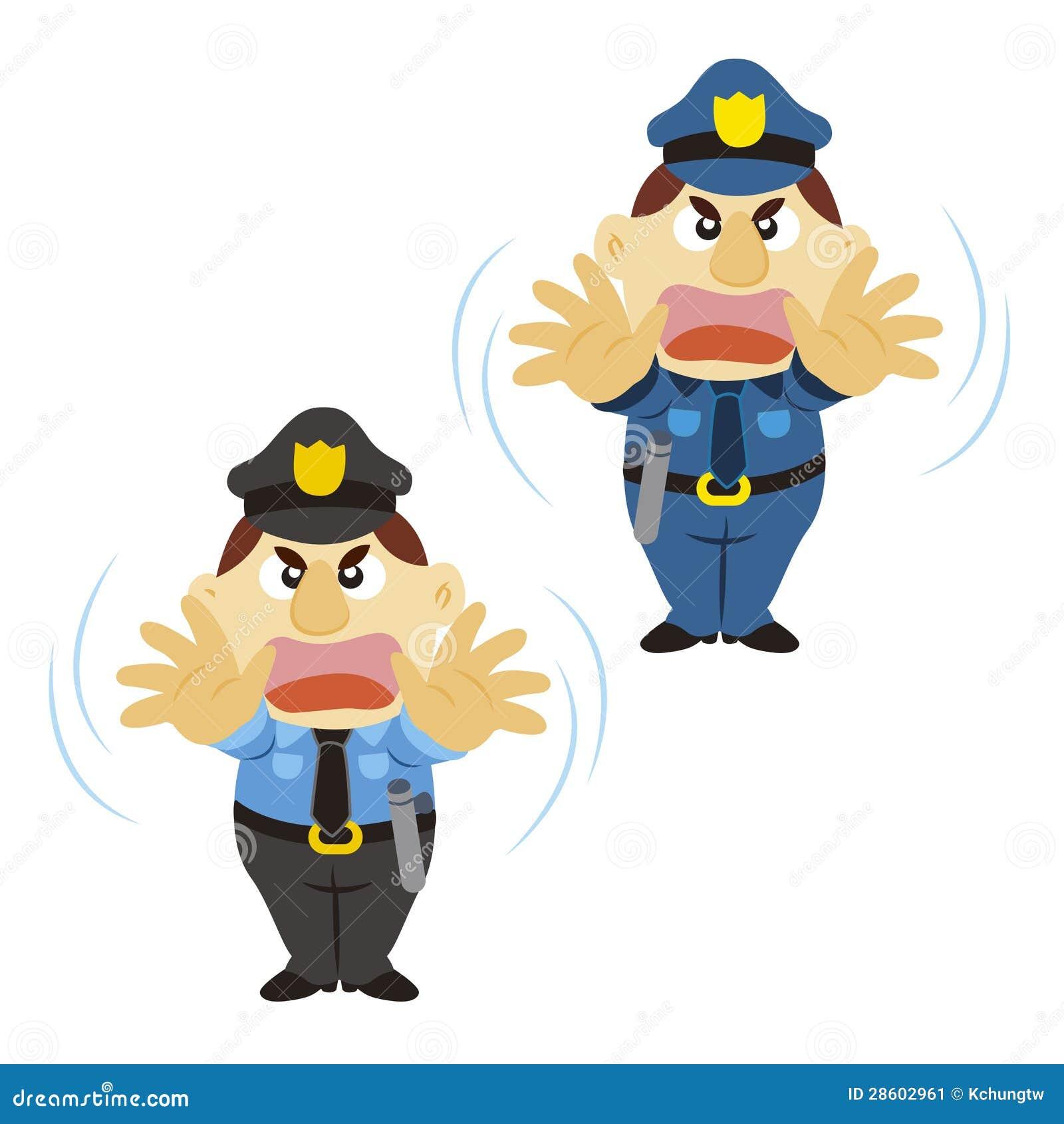 Polícia engraçado dos desenhos animados, duas cores