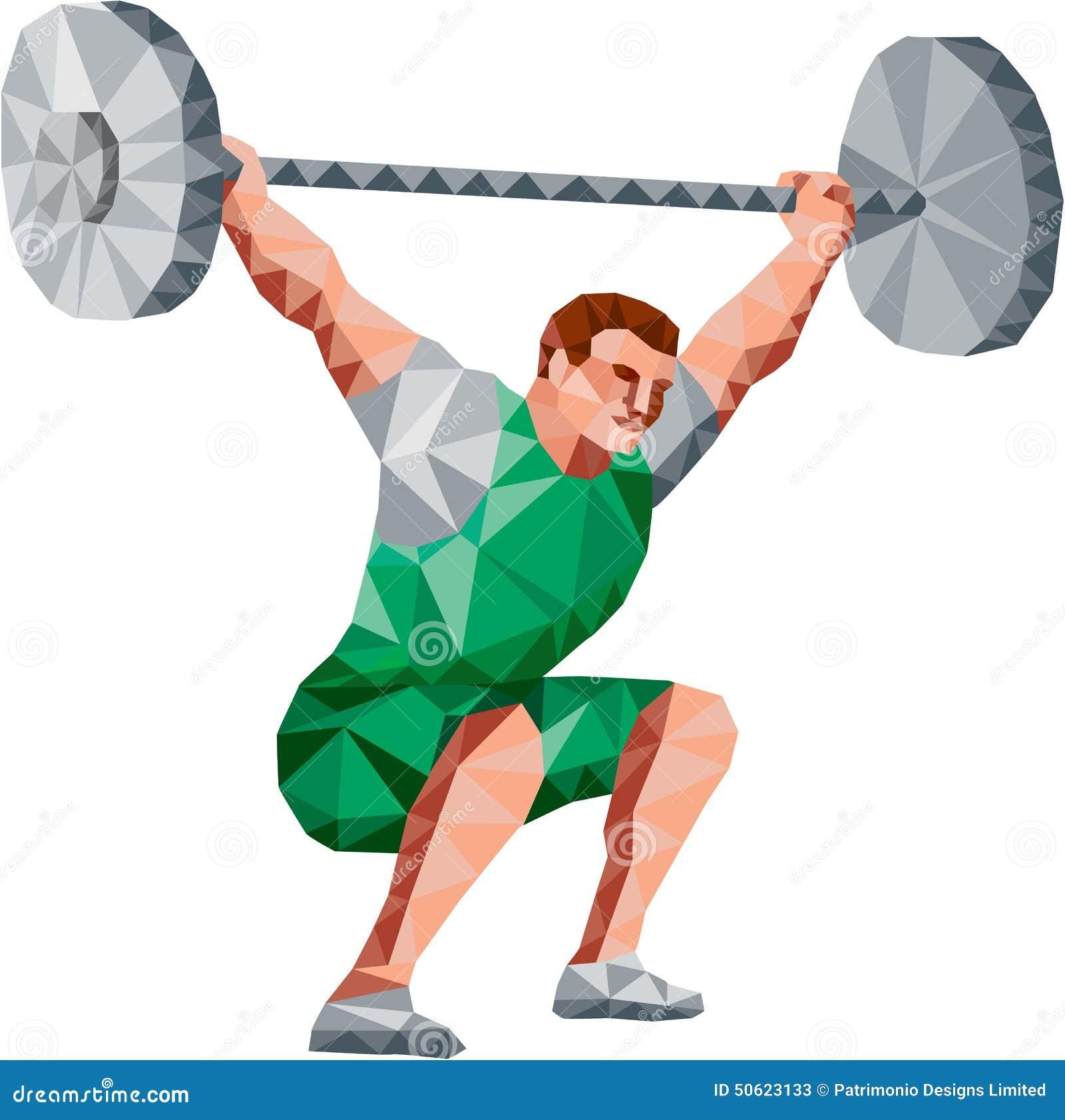 Polígono bajo de elevación del Barbell del Weightlifter