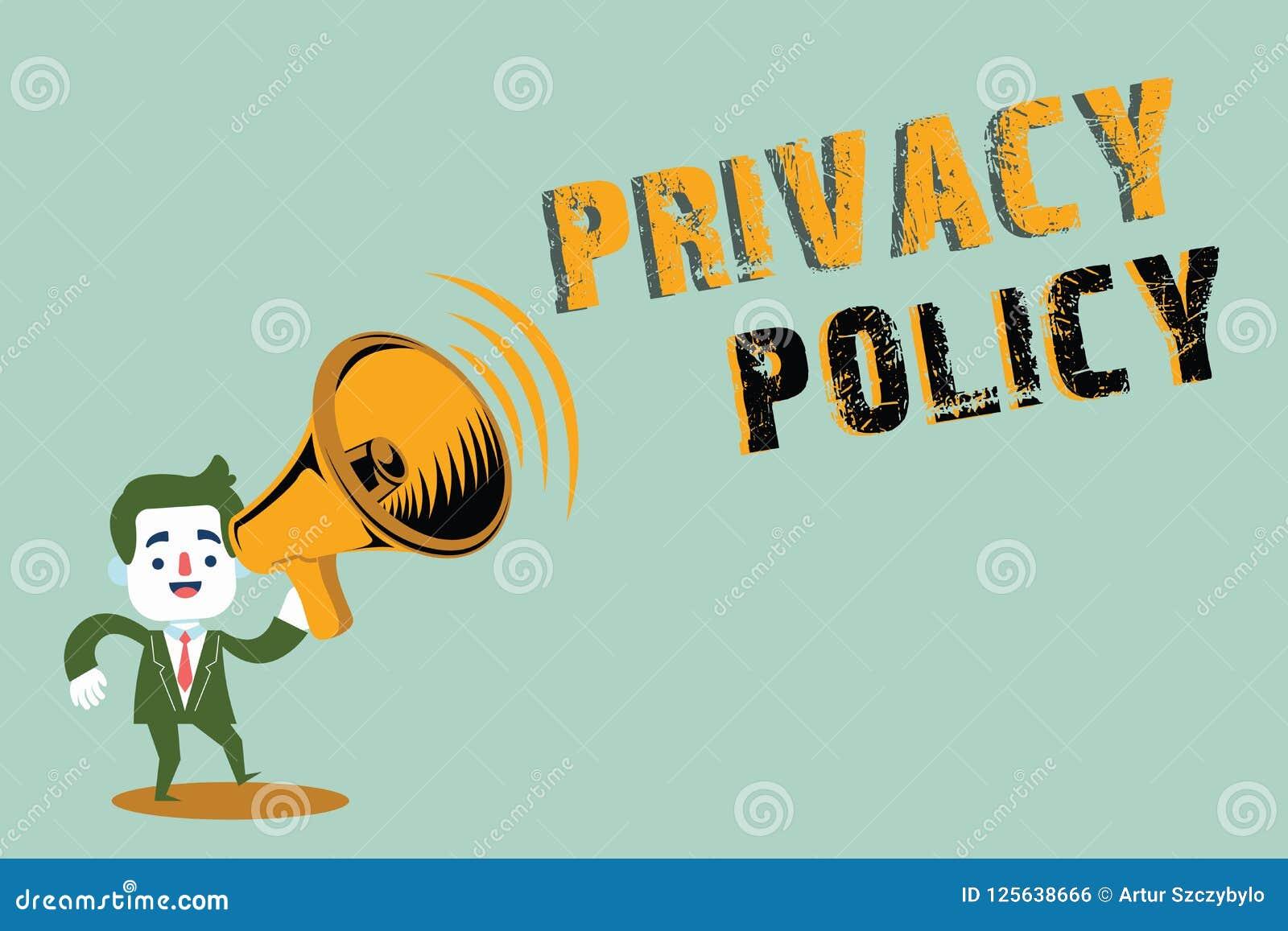 Política de privacidad de la escritura del texto de la escritura Documento del significado del concepto que explica cómo una orga