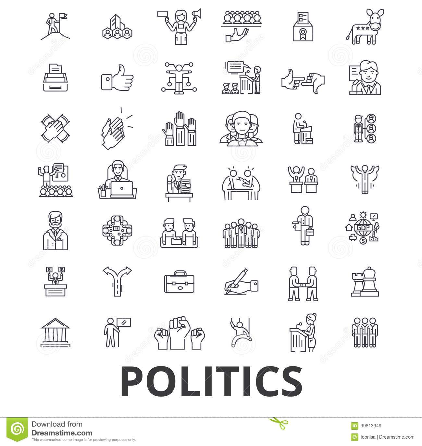 Política, político, voto, eleição, campanha, o governo, ícones políticos da linha do partido Cursos editáveis Projeto liso