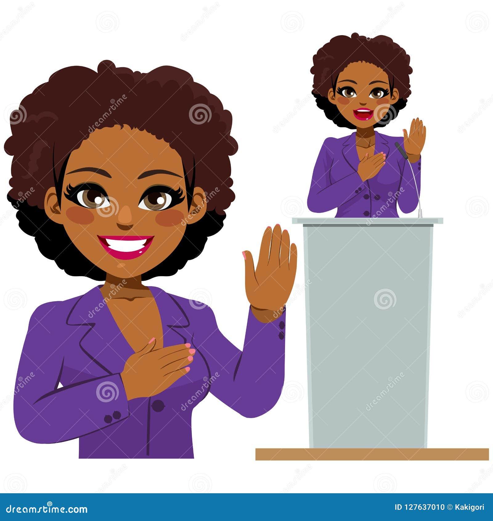 Político afro-americano Oath da mulher