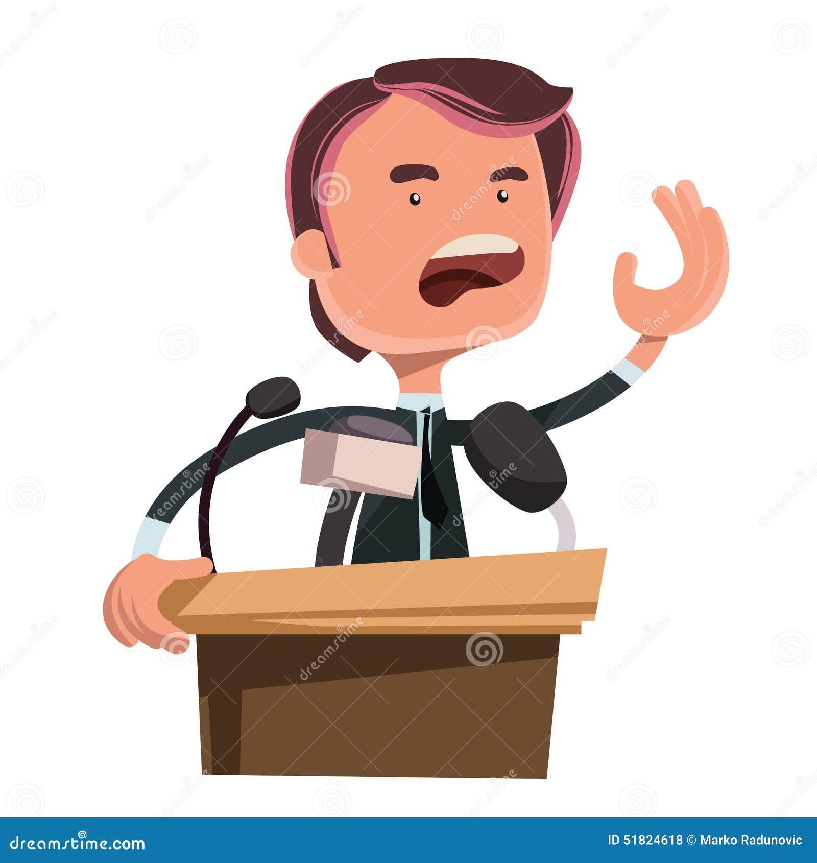 Político Que Da El Personaje De Dibujos Animados Del Ejemplo Del