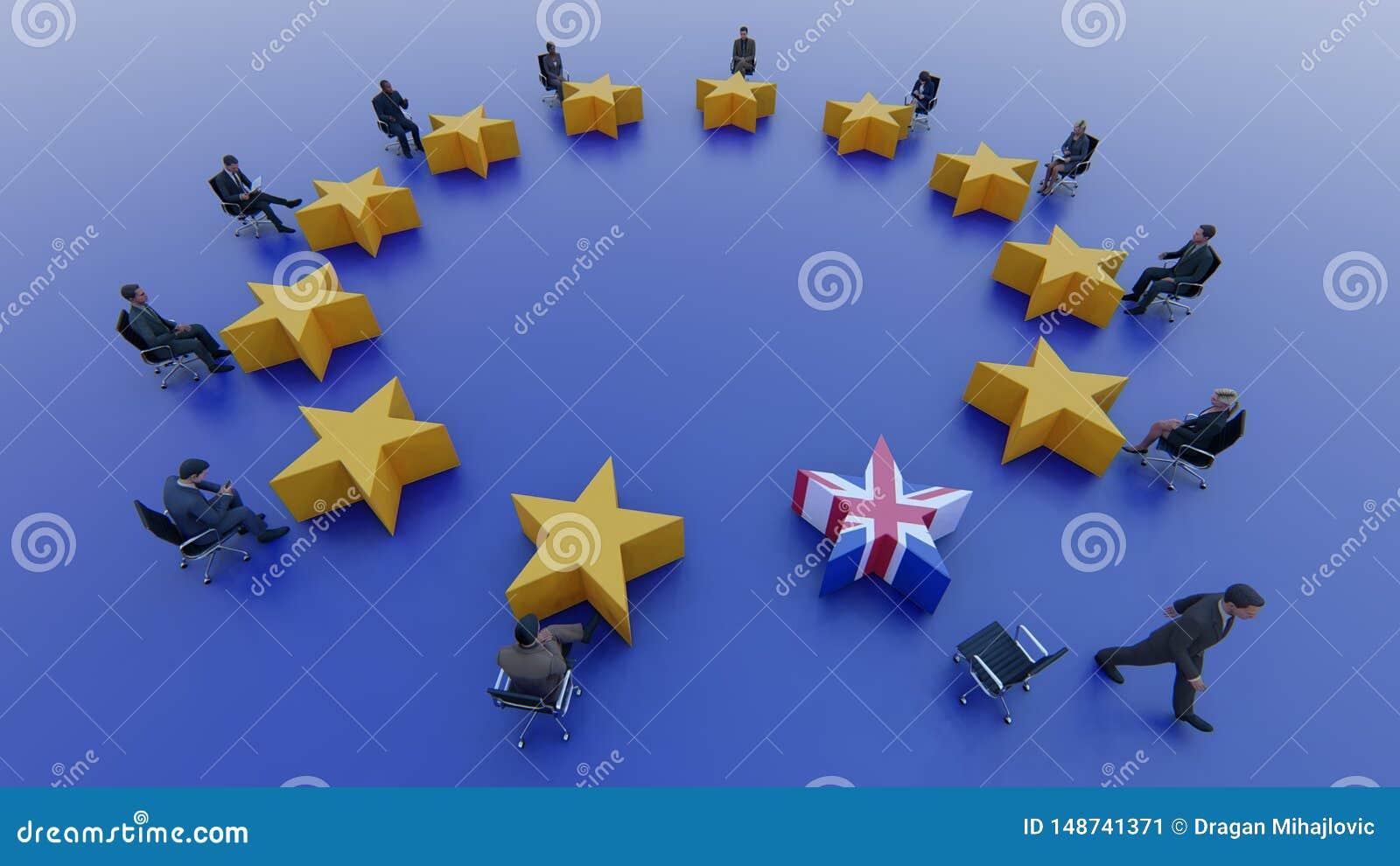 Políticos de la bandera de unión europea sentarse y discutir sobre Brexit en el parlamento