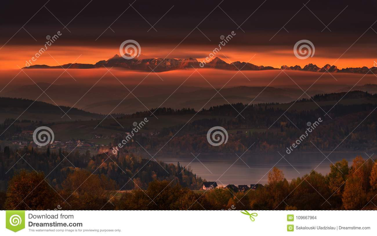 Poland, Autumn Morning. Epic Sunrise Over Tatry Mountains: View