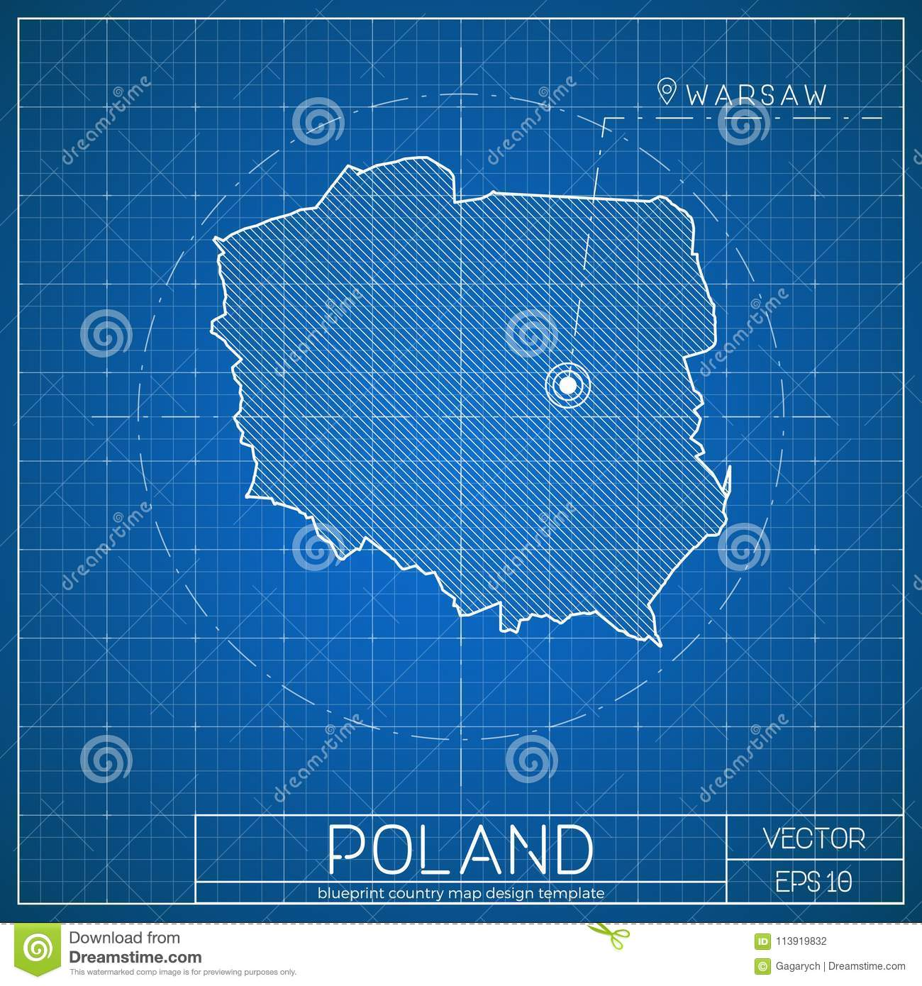 Capital Of Poland Map.Poland Blueprint Map Template With Capital City Stock Vector
