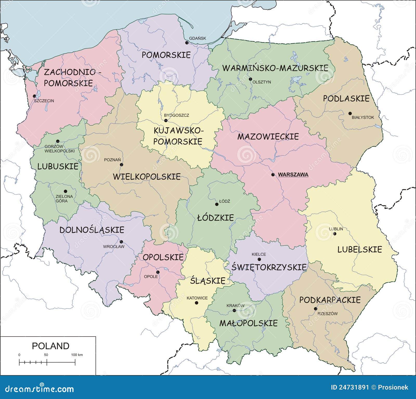 Poland Contour Map Vector Illustration Stock Image