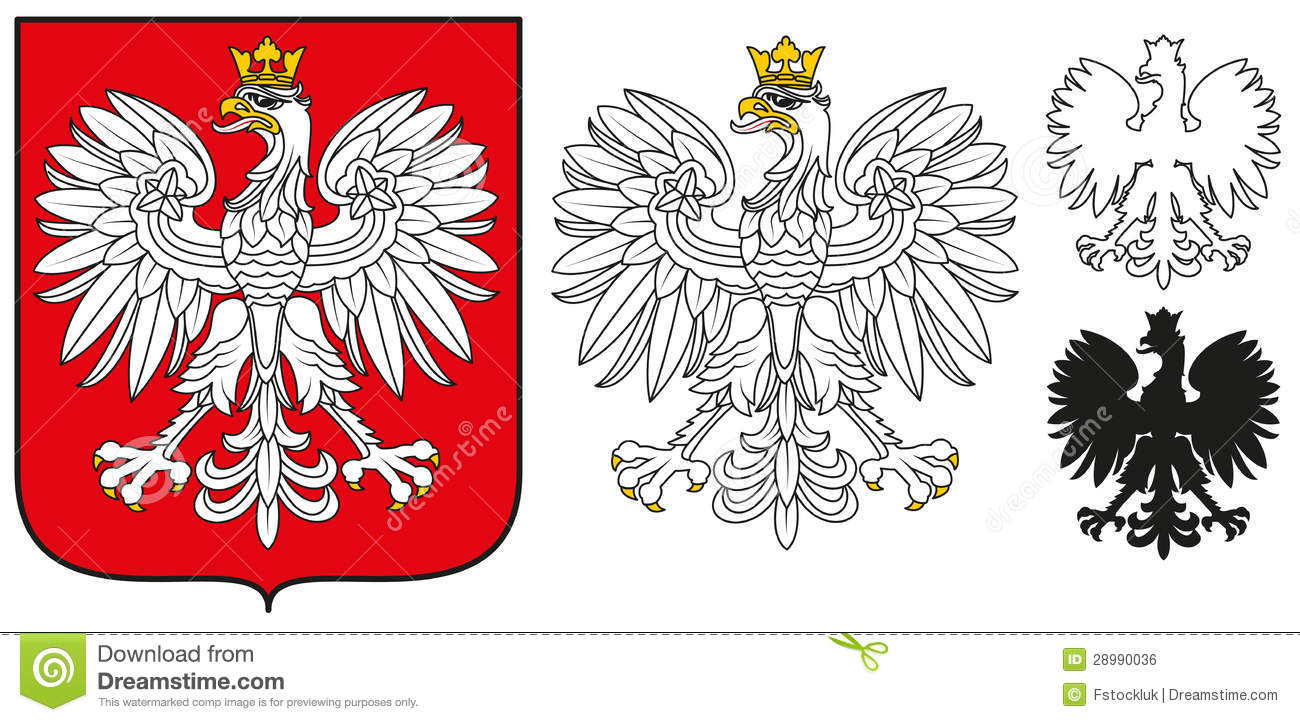 Poland Emblem - White Eagle,Shield And Silhouette Royalty Free Stock ... Eagle Silhouette Vector