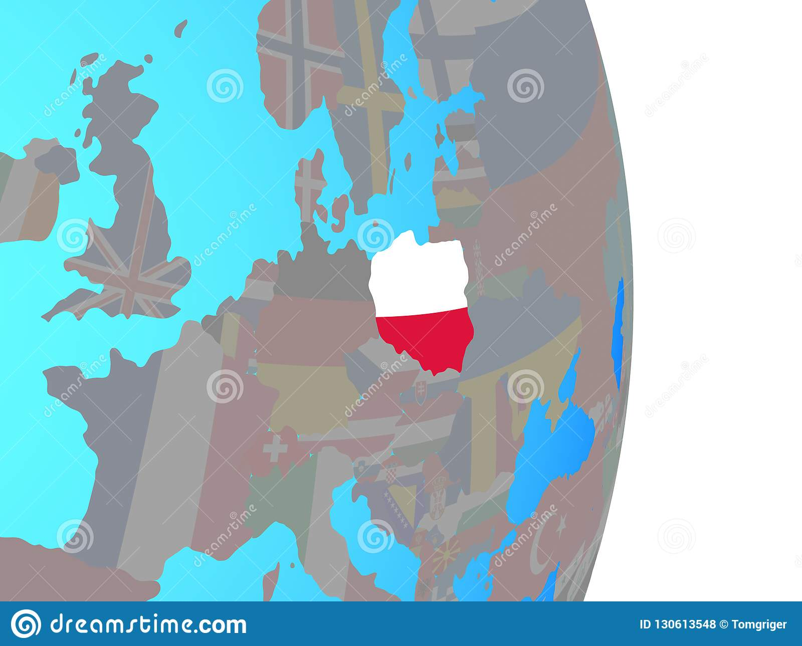 Poland with flag on globe
