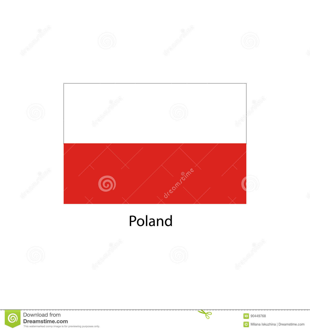 poland flag official colors and proportion correctly national