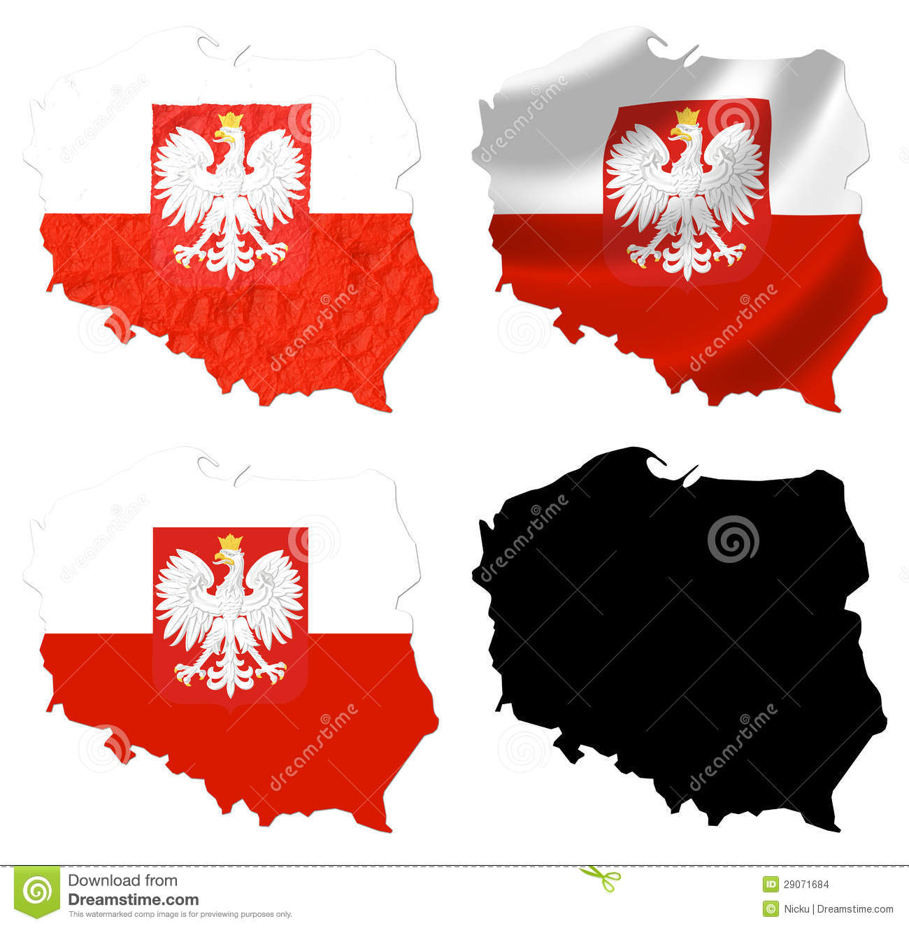 poland flag over map collage stock images image 29071684