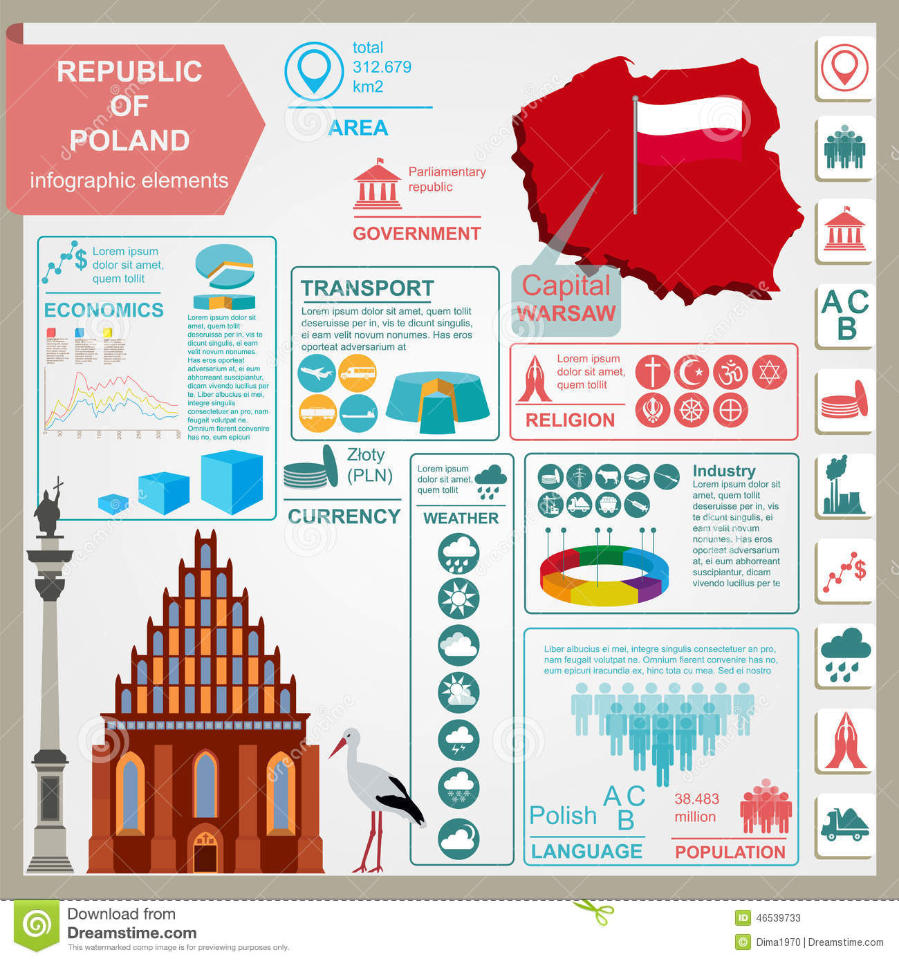 poland infographics  statistical data  sights stock vector