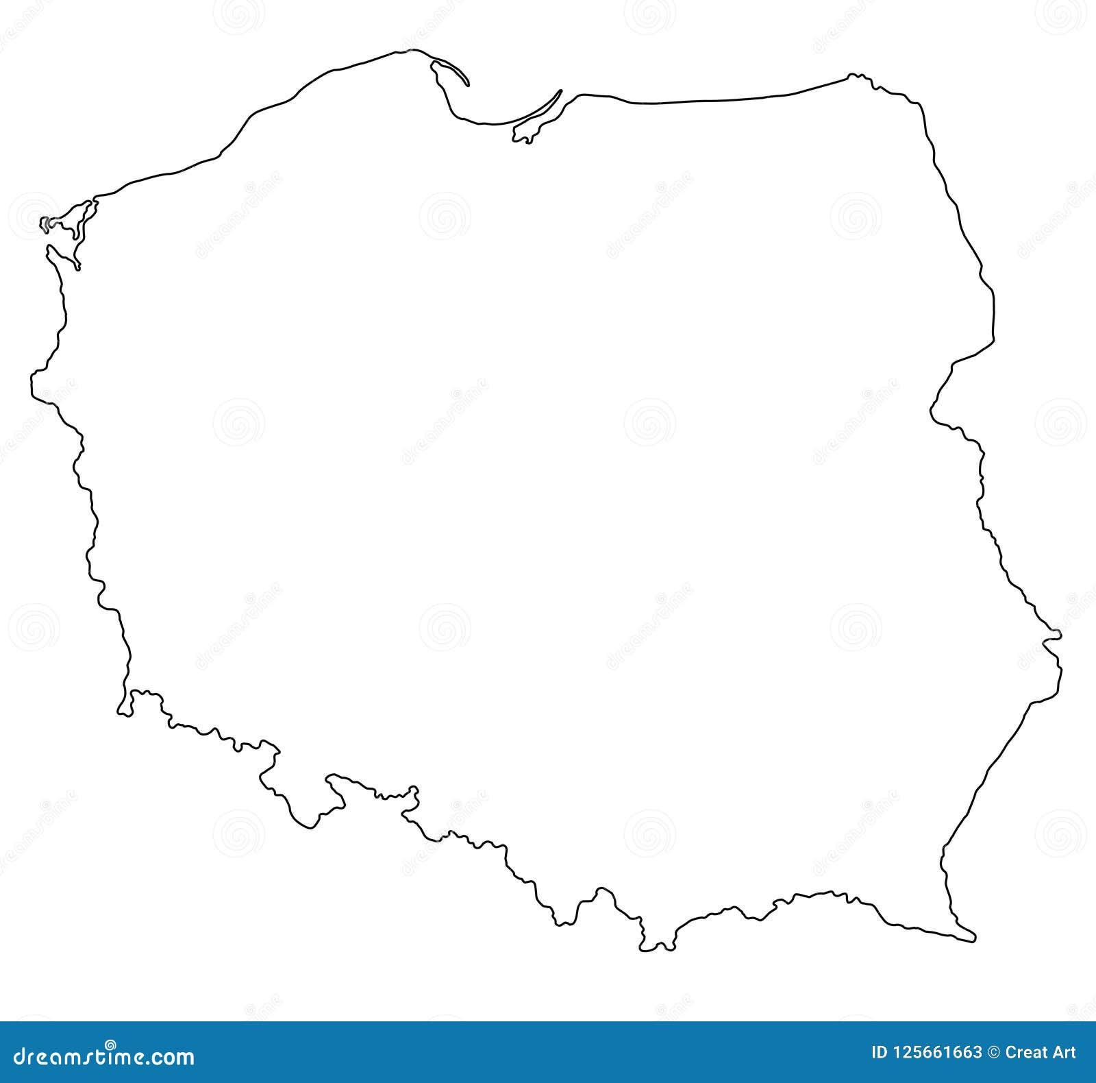 Poland Map Outline Vector Illustration Stock Vector Illustration