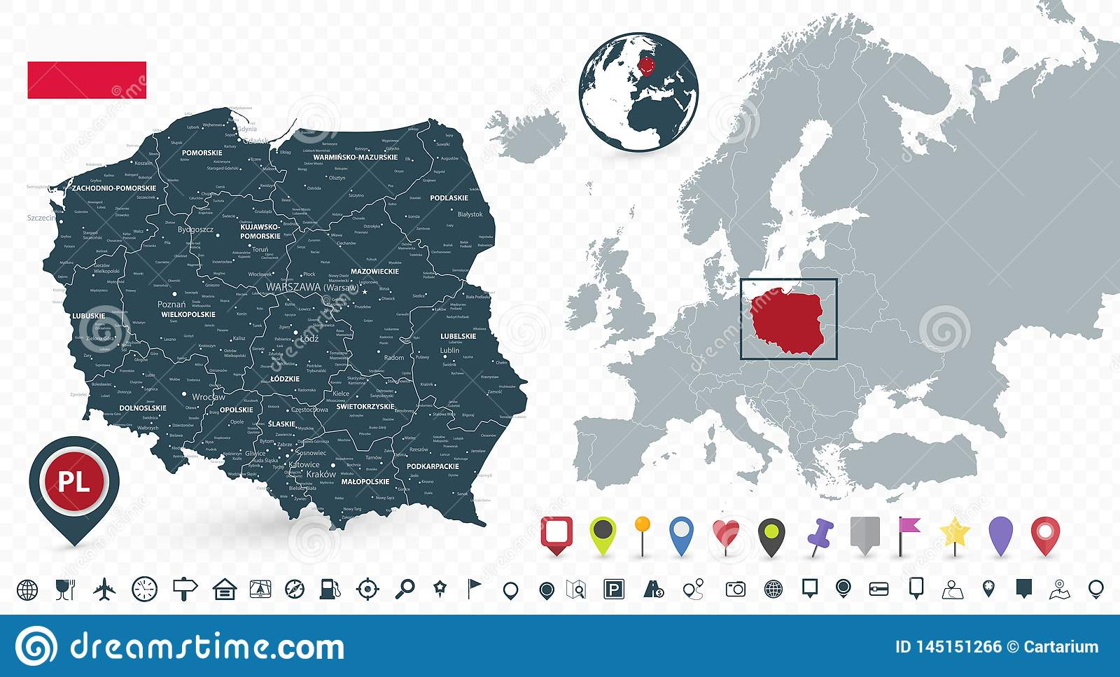 Poland Map And Poland Location On The Europe Map Isolated On ...