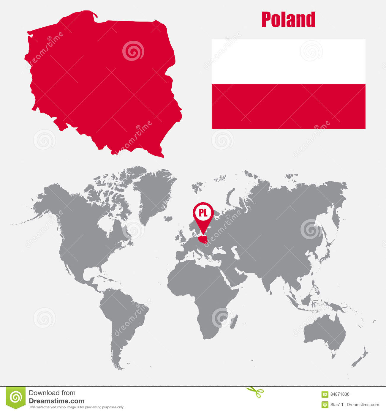 Poland On The World Map.Poland Map On A World Map With Flag And Map Pointer Vector