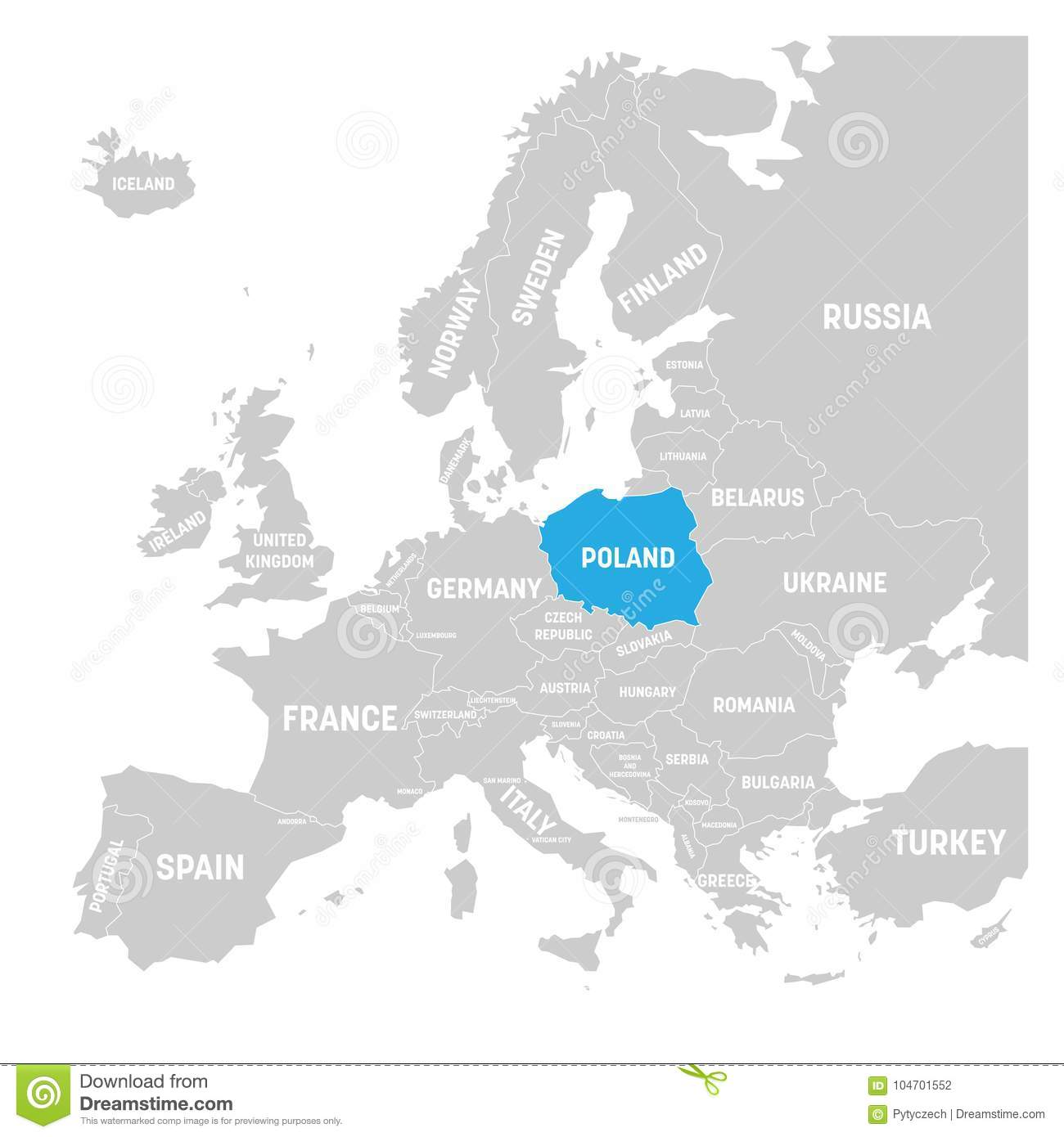 Poland Marked By Blue In Grey Political Map Of Europe. Vector ...