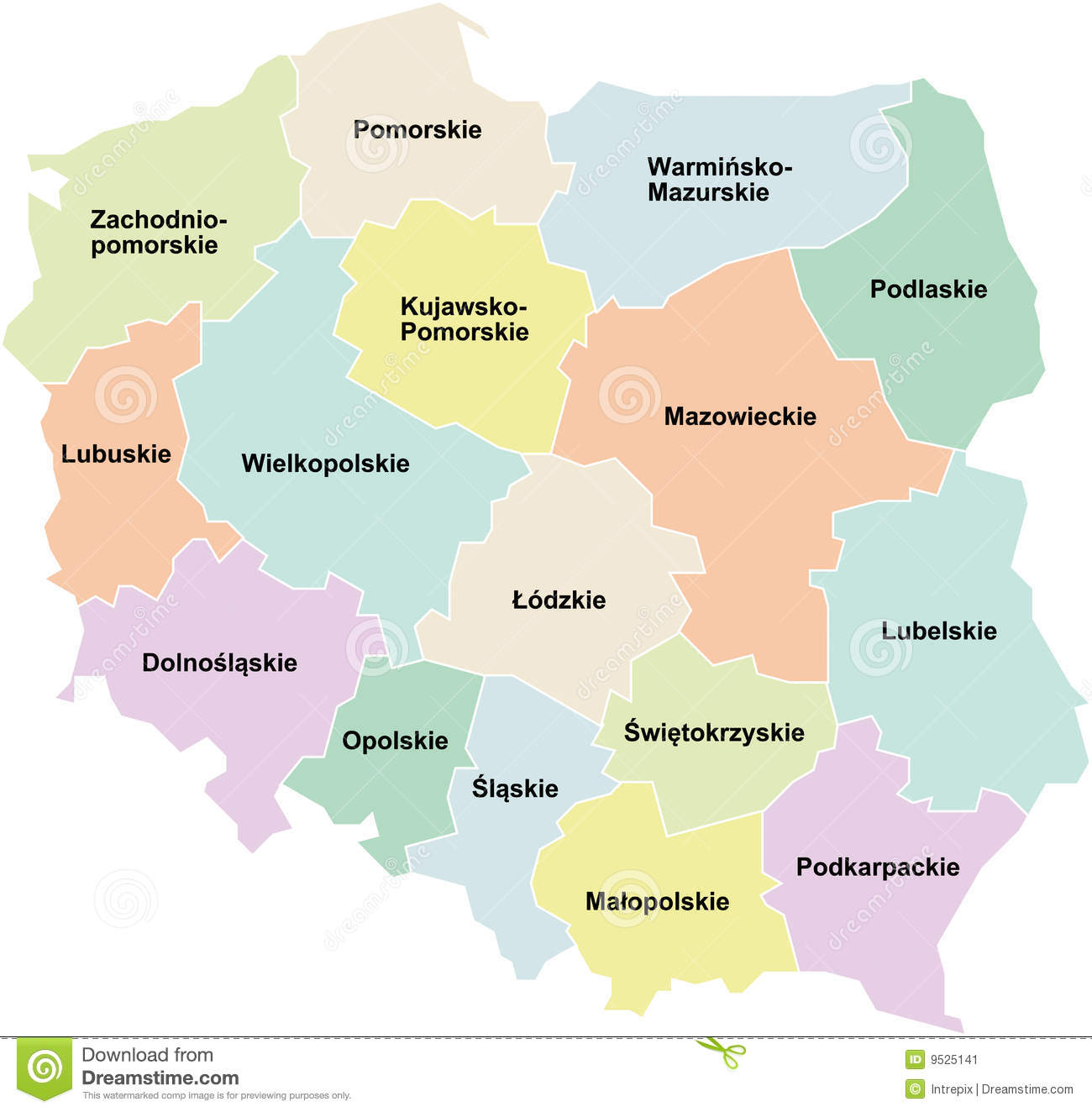 political map of Poland showing the different regions called ...