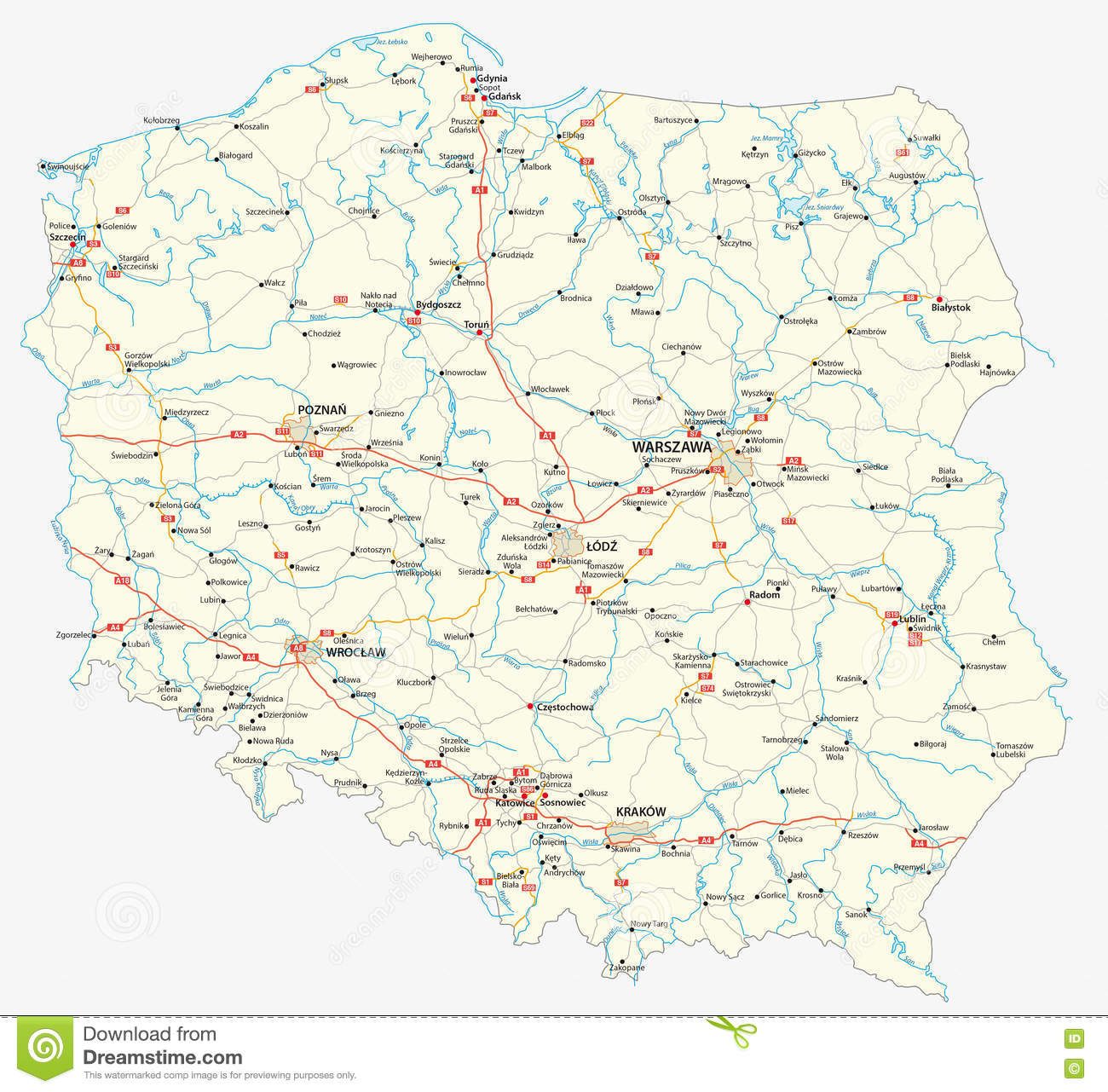 Poland road map stock illustration illustration of poland 71840963 download comp gumiabroncs Image collections