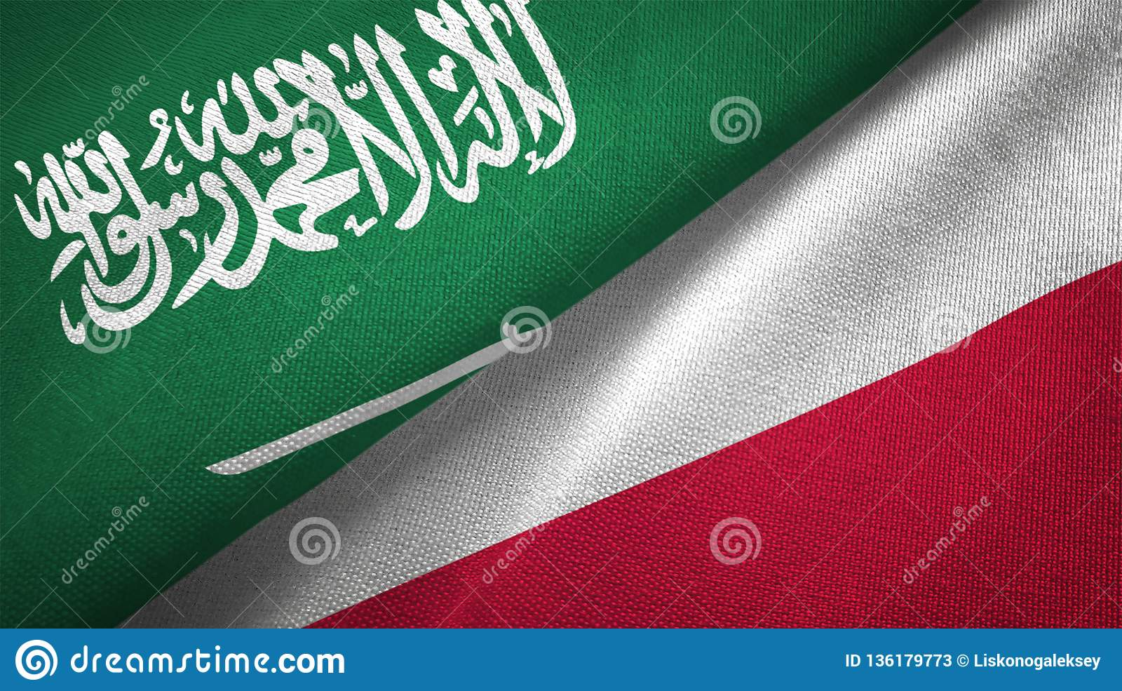 Poland and Saudi Arabia two flags textile cloth fabric texture