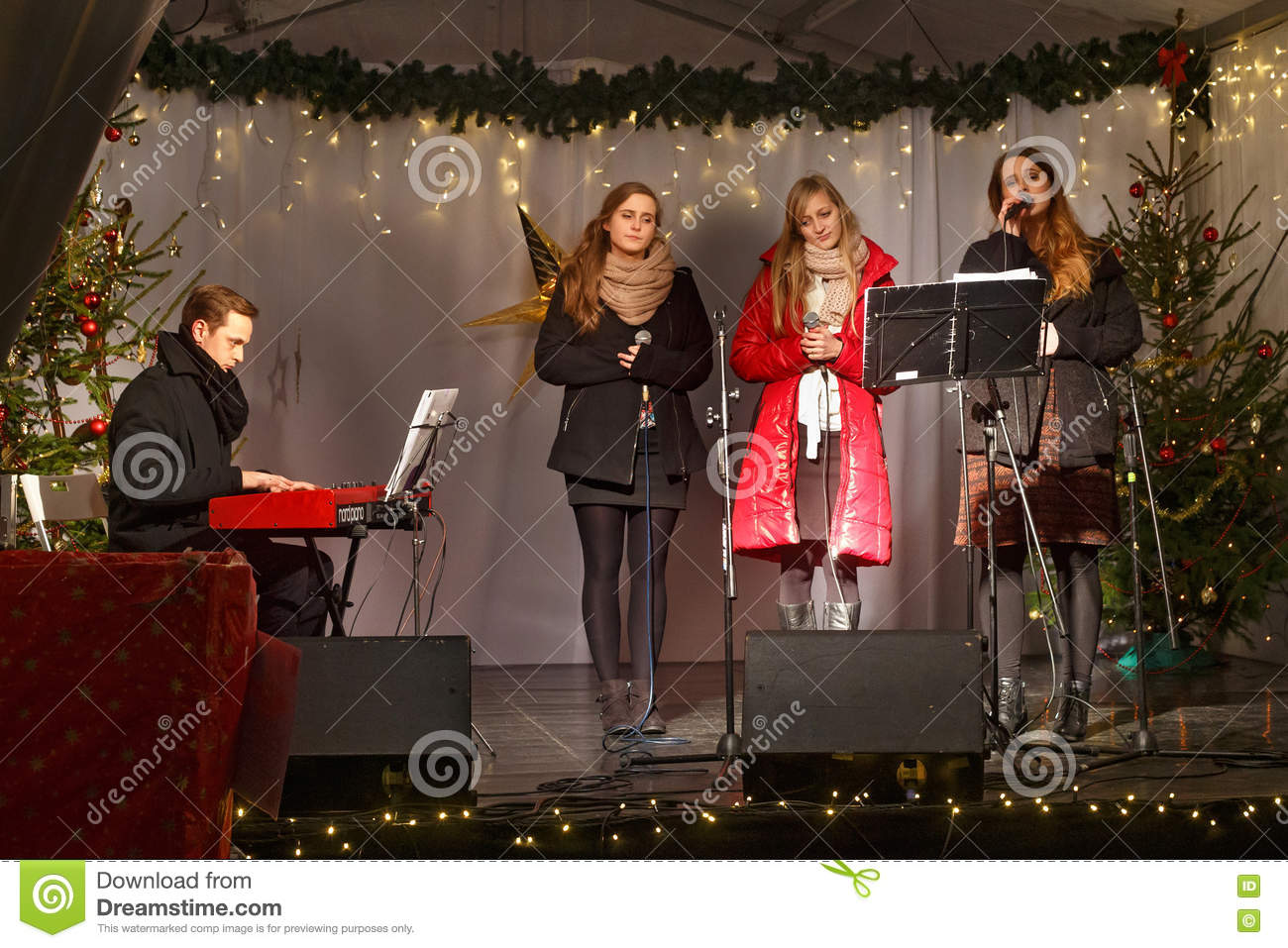 POLAND, SOPOT - DECEMBER 14, 2014: An Unknown Youth Group