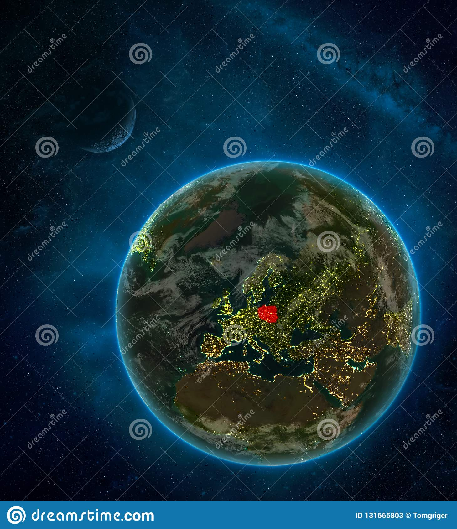 Poland From Space On Earth At Night Surrounded By Space With