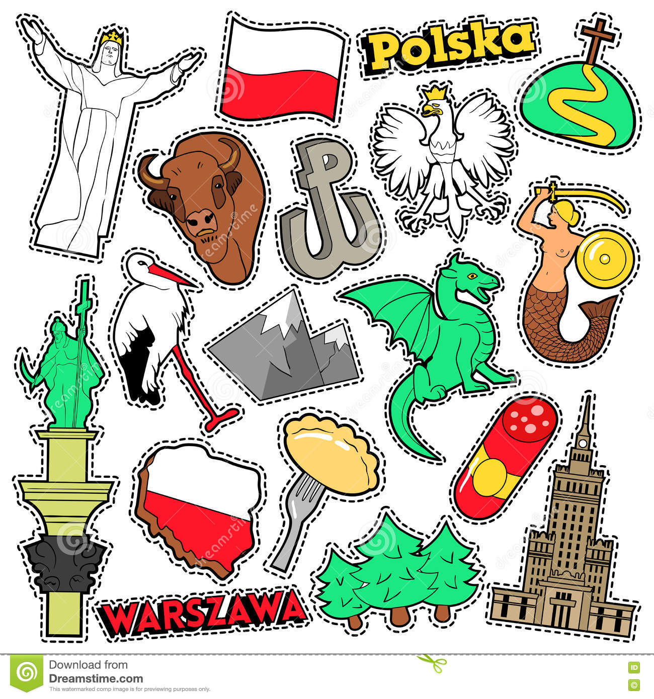 Poland Travel Scrapbook Stickers Patches Badges For Prints With