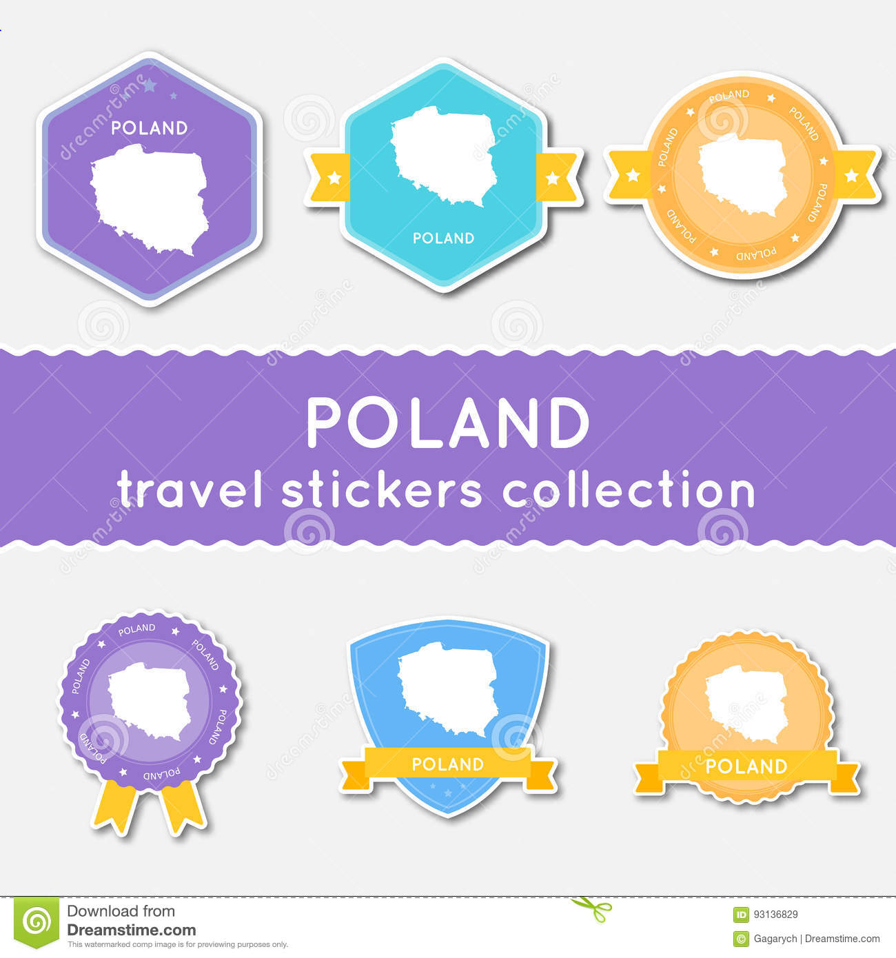 Poland travel stickers collection.