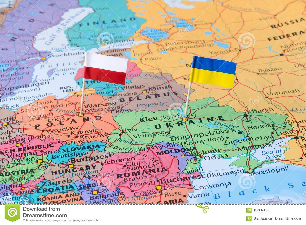 Poland And Ukraine Map With Flag Pins Political Relations Concept