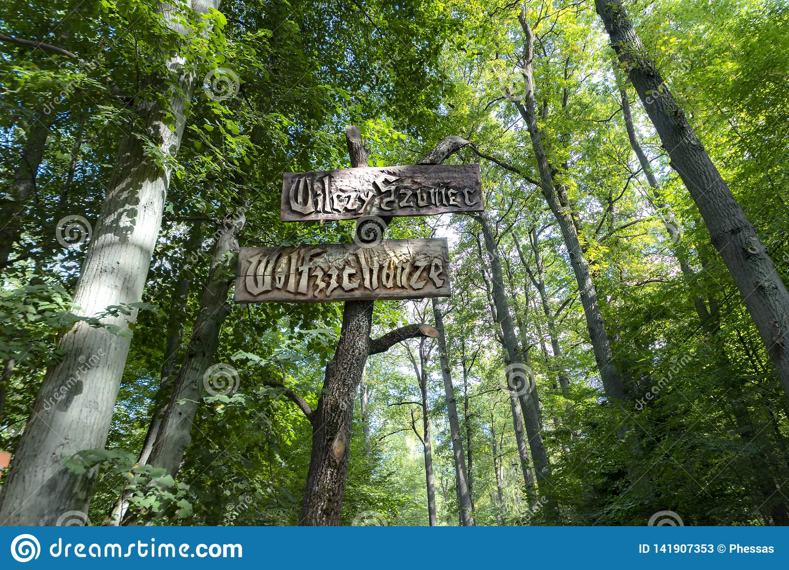 Poland 14-09-2018 Wolf, s Lair Hitler, s Headquarters Near the city of Ketrzyn, north / east Poland View of the road signs, and