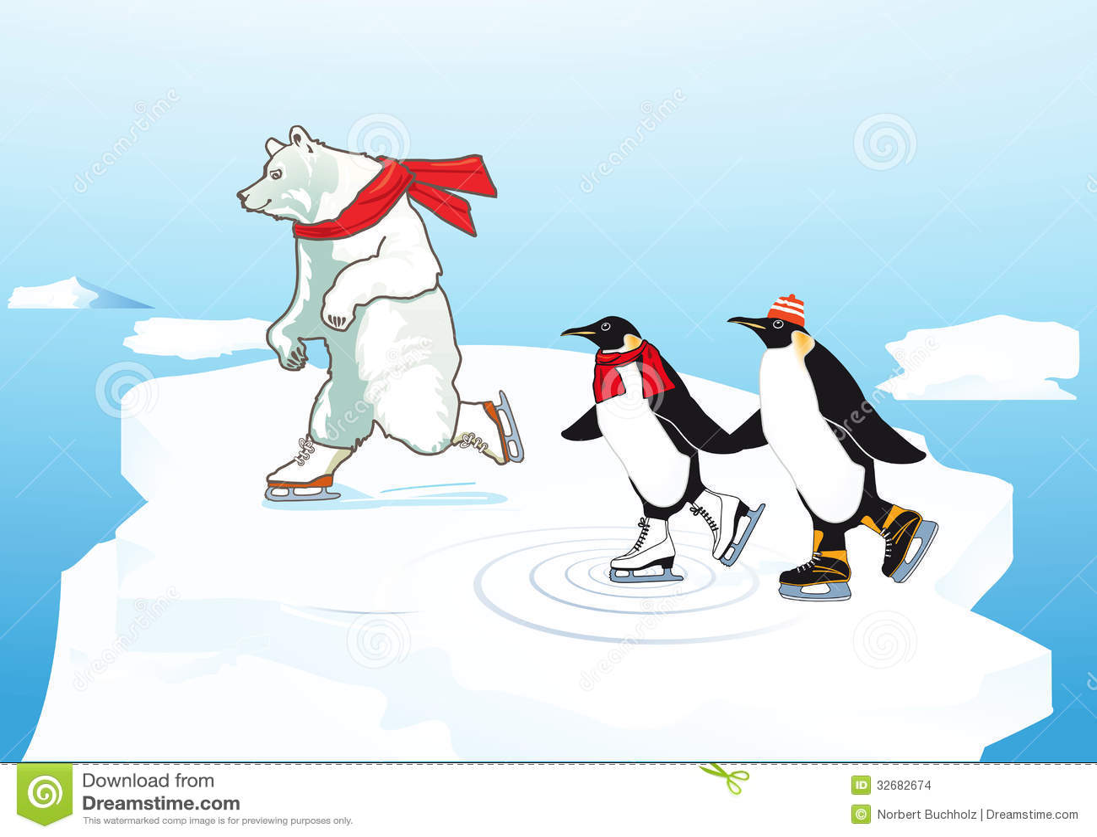 polar bear and penguins ice skating stock vector