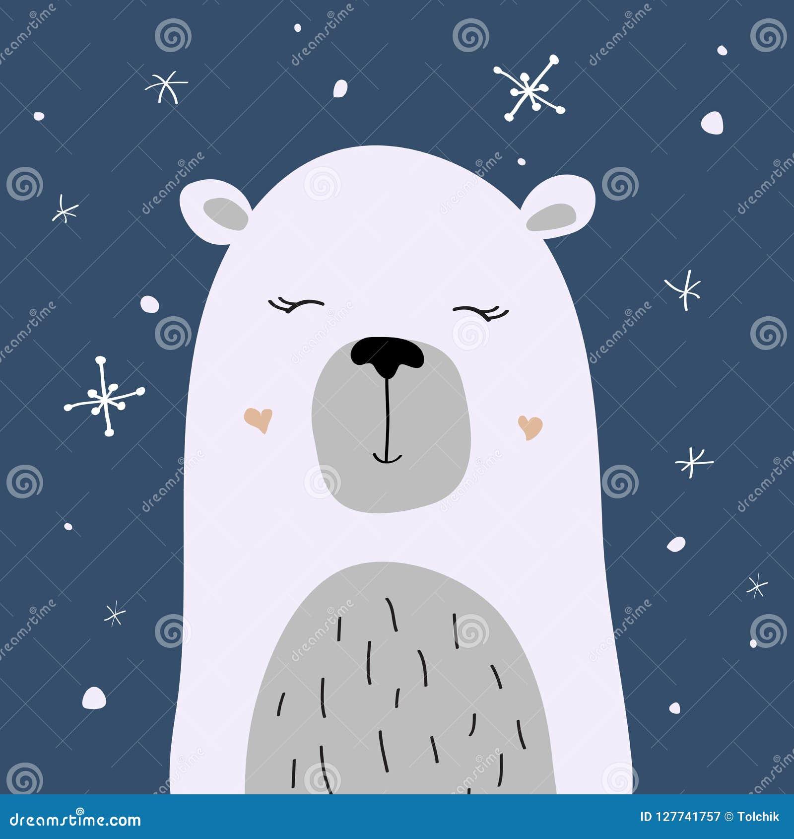 Polar Bear Is Enjoying The Snow, Vector Christmas Card Stock Vector ...