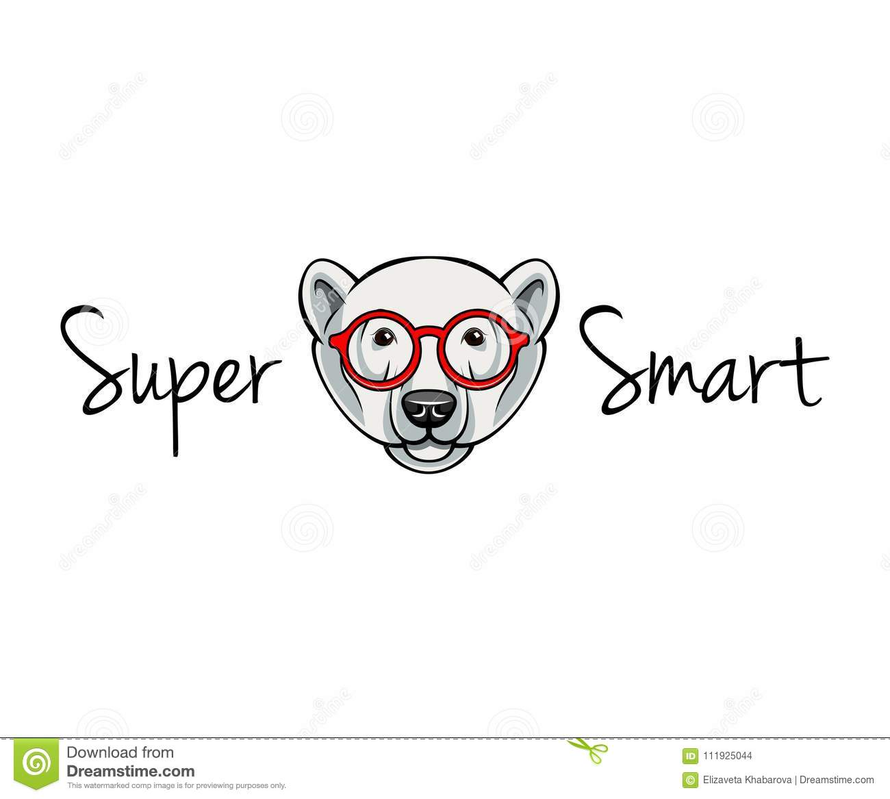 Polar Bear Face In Geek Glasses  Super Smart  Vector Illustration