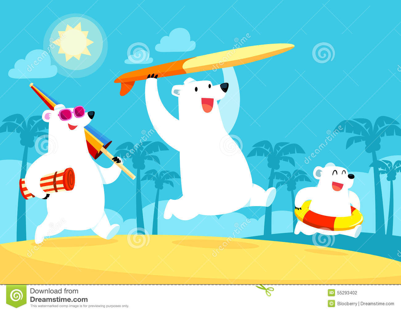 Polar Bear Family On Vacation At The Beach Stock Vector