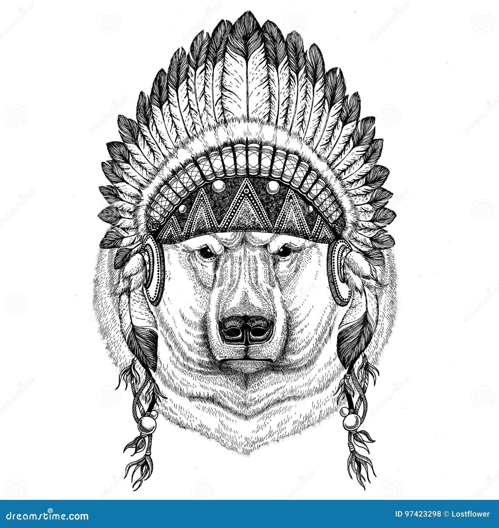c7878c3181ef1 Wild animal wearing indian hat Headdress with feathers Boho ethnic image  Tribal illustraton