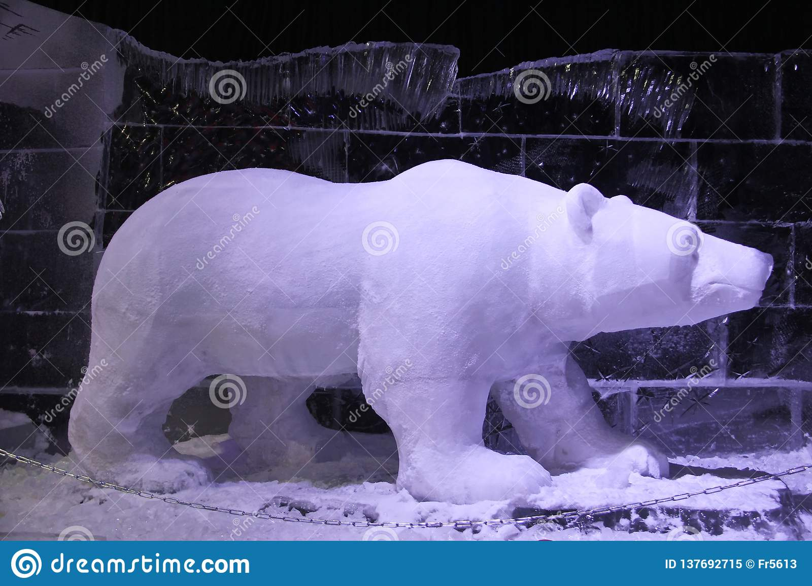 Polar bear made of ice and snow