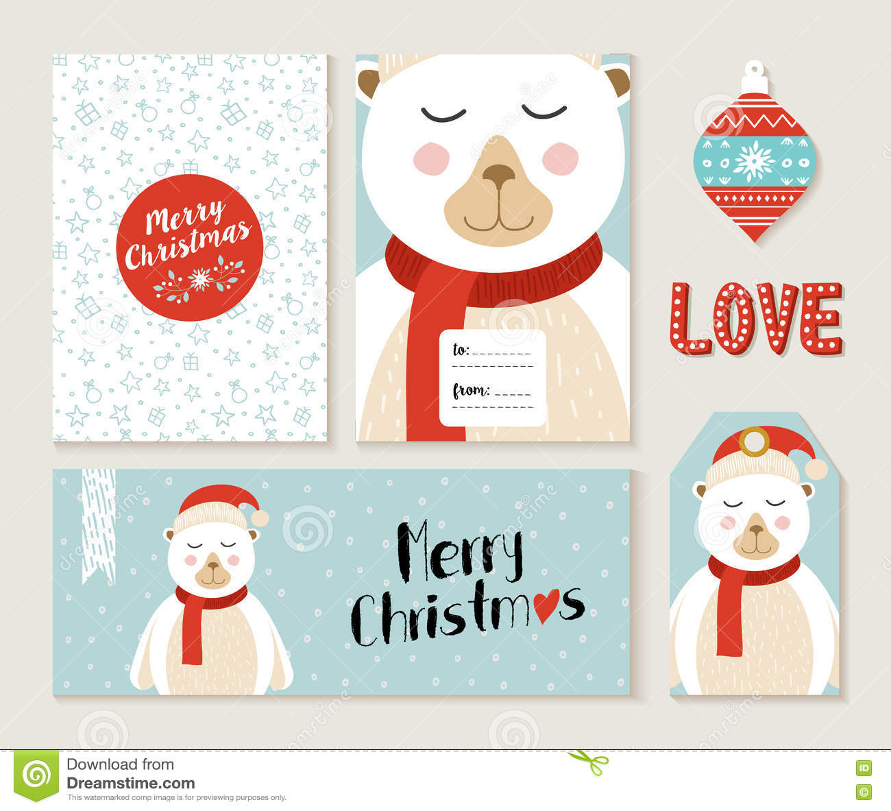 polar bear merry christmas greeting card set stock vector