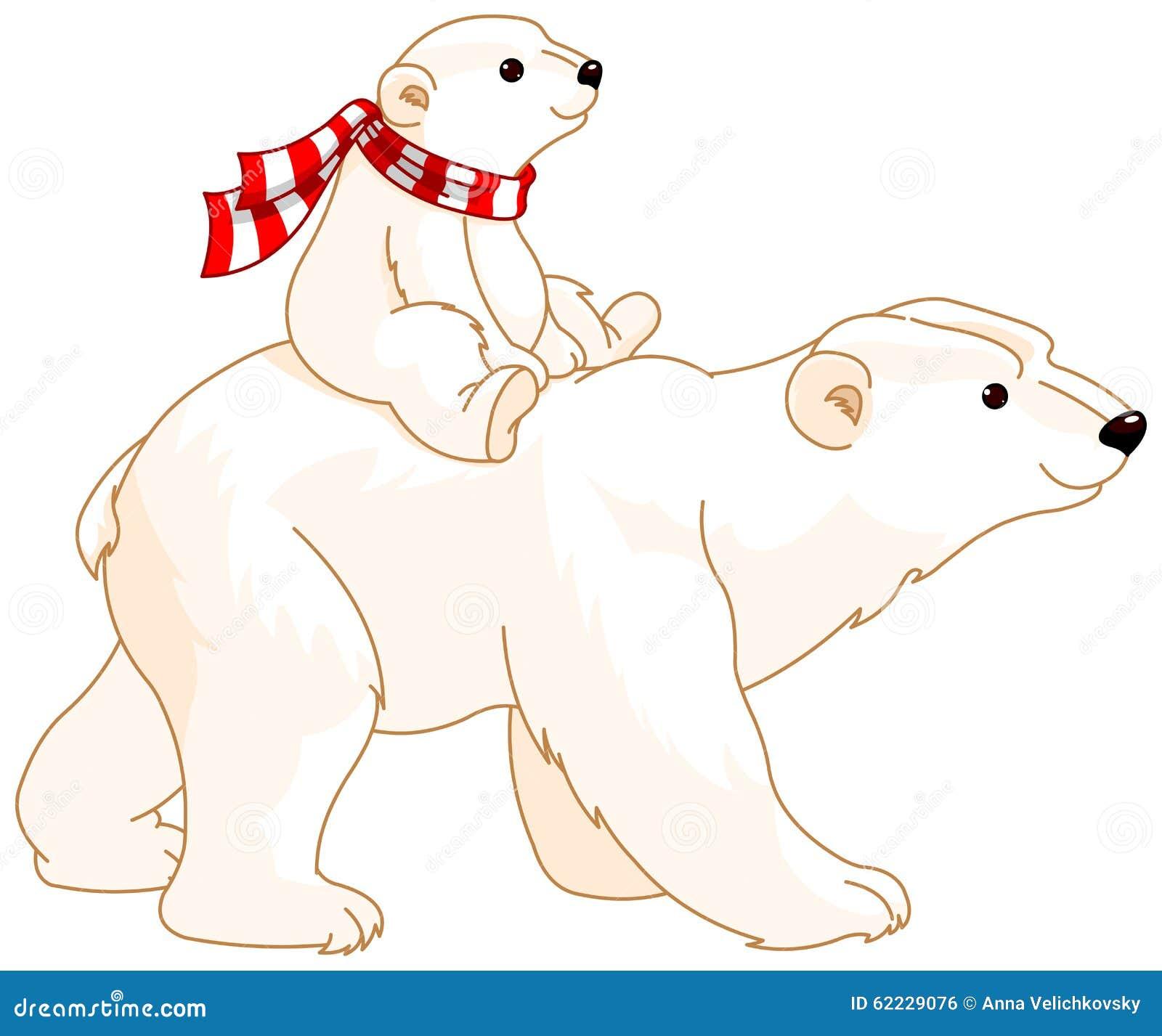 polar bear mom and baby stock vector image 62229076
