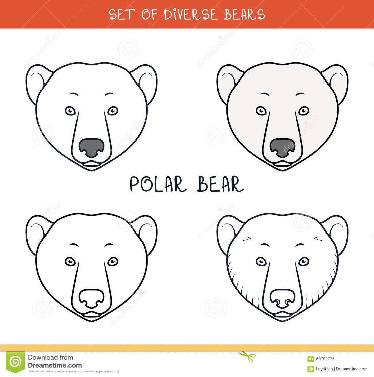 holiday coloring pages bear face coloring page polar bear set face