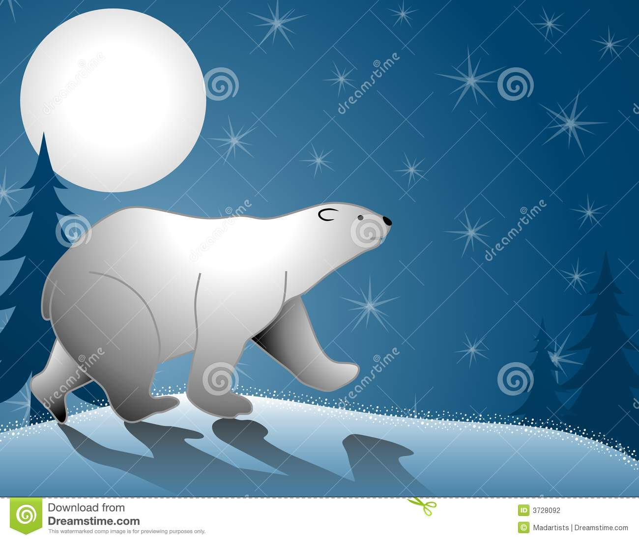 clip art illustration featuring a polar bear walking in the snow ...