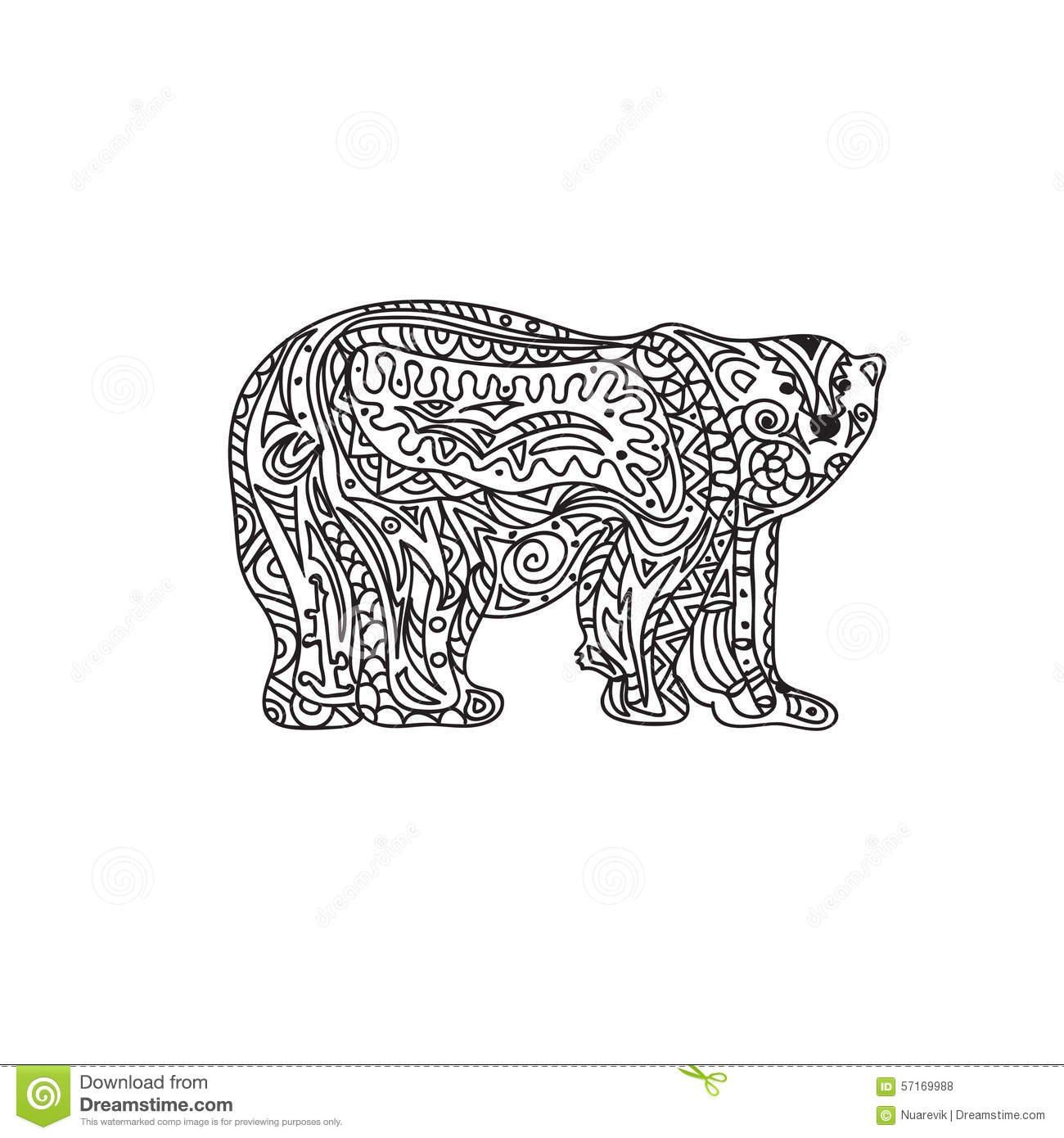 coloring page for black bear image