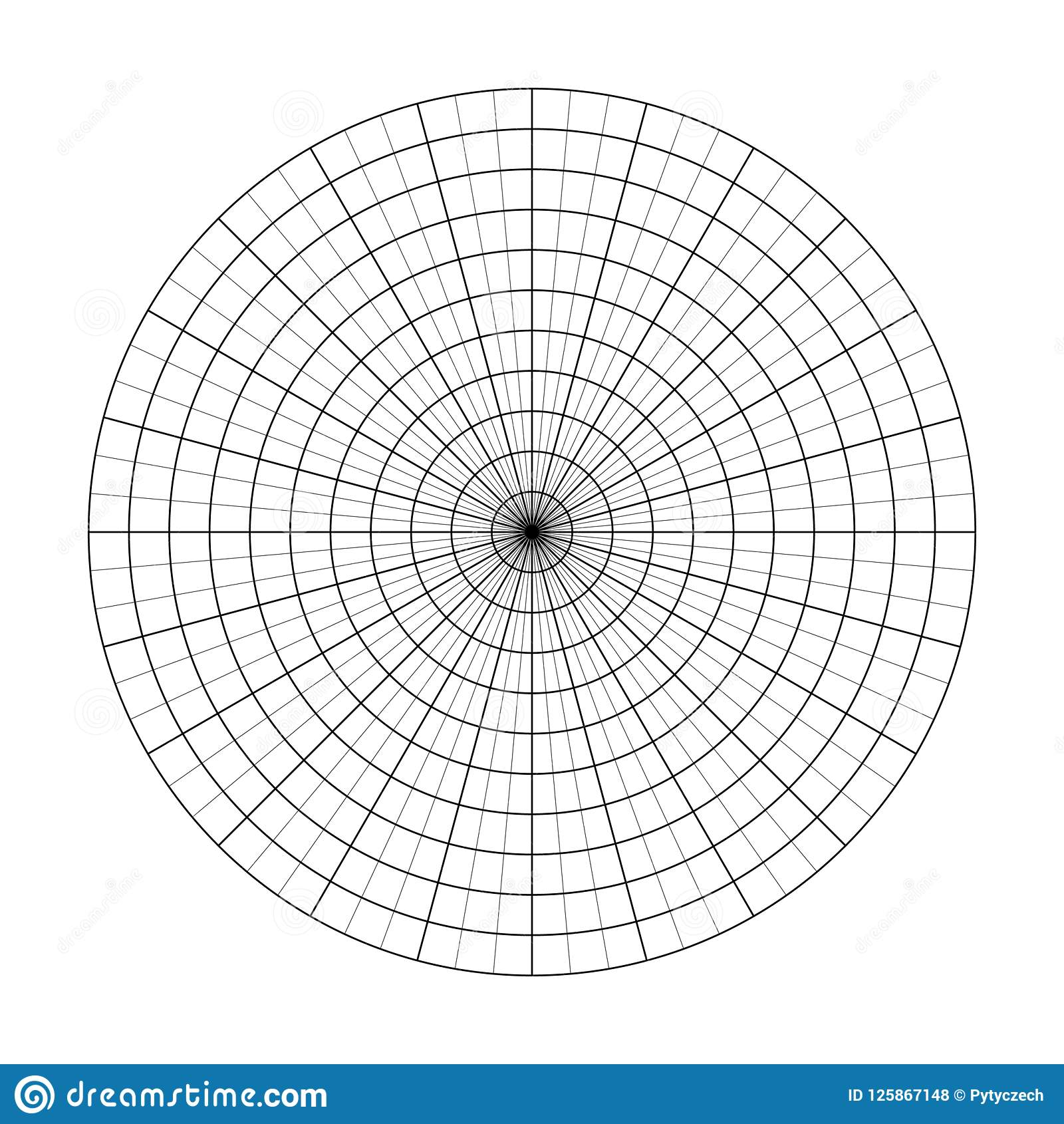 polar grid of 10 concentric circles and 5 degrees steps. blank