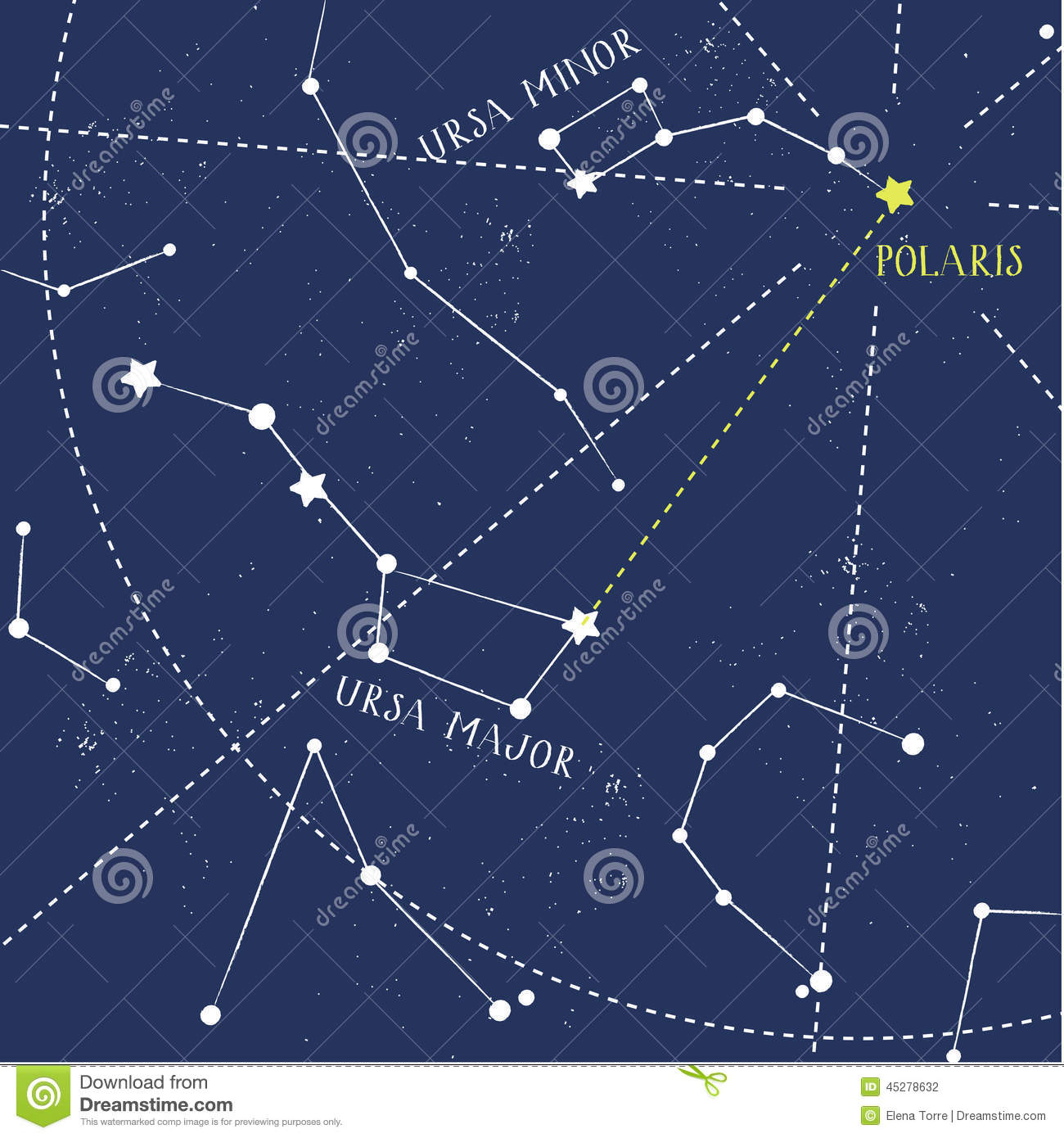 Constellations Ursa Major And Minor Polaris Stock Photography