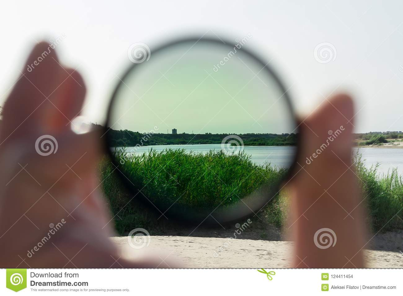 polarizing filter for the camera stock photo image of hand