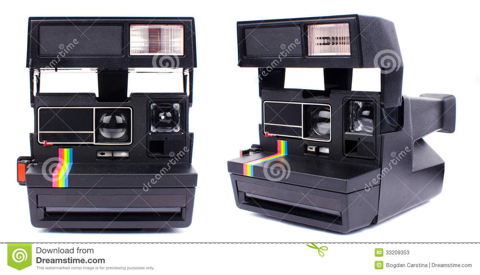 Polaroid camera stock image  Image of shutter, view