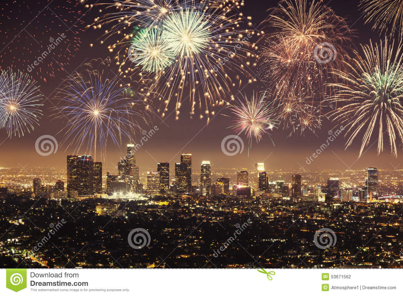 Polaroid of Downtown Los angeles cityscape with fireworks celebrating New Year s Eve.