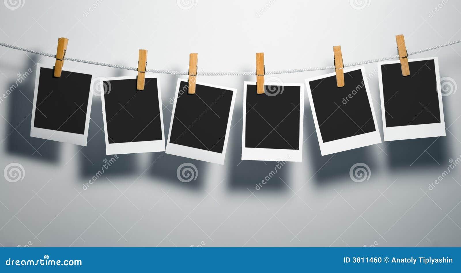 Polaroid Film Blanks On Rope Stock Photo Image 3811460