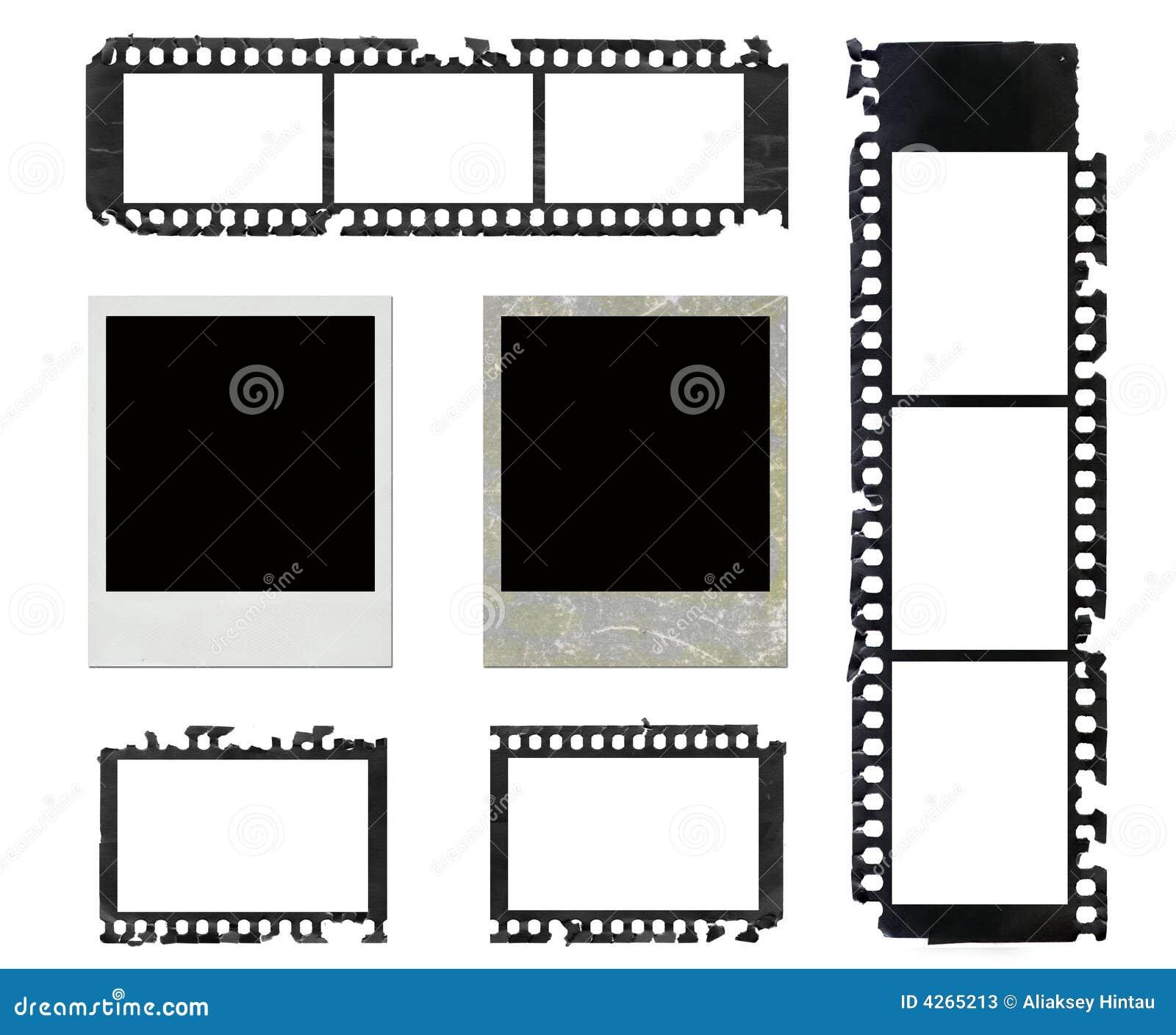 Polaroid frames and grunge negative film set
