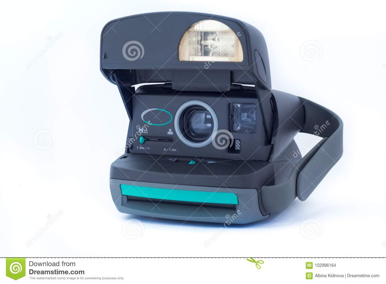 Polaroid 630 instant vintage camera on white background. Polaroid company was founded in 1937 in Cambridge