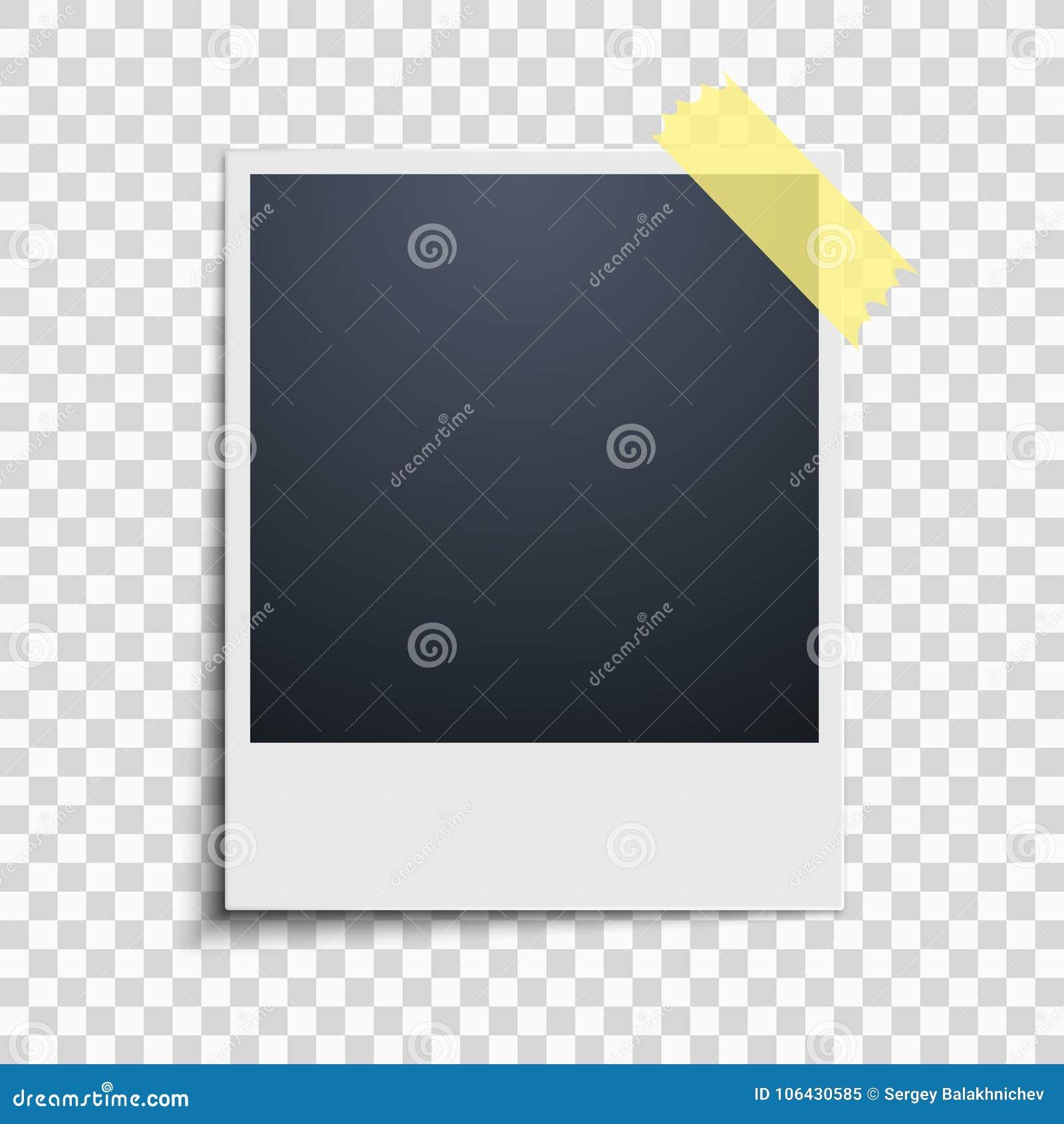 Polaroid na przejrzystym tle tła piękny czerń ramy dziury kpugloe deseniował fotografię Żółta scotch taśma wektor