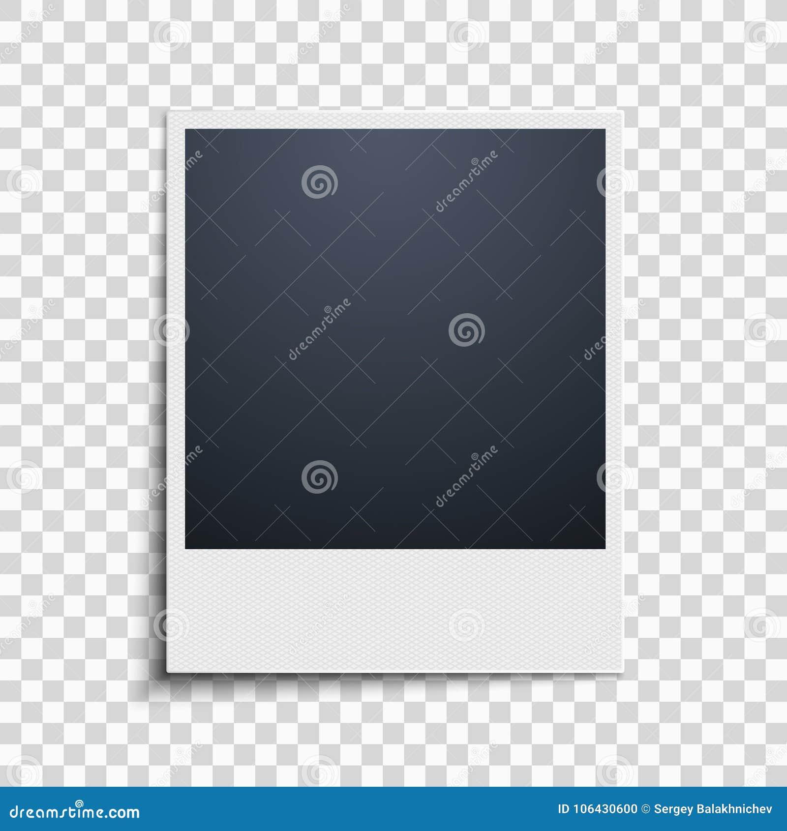 Polaroid na przejrzystym tle tła piękny czerń ramy dziury kpugloe deseniował fotografię Siatka wzór wektor