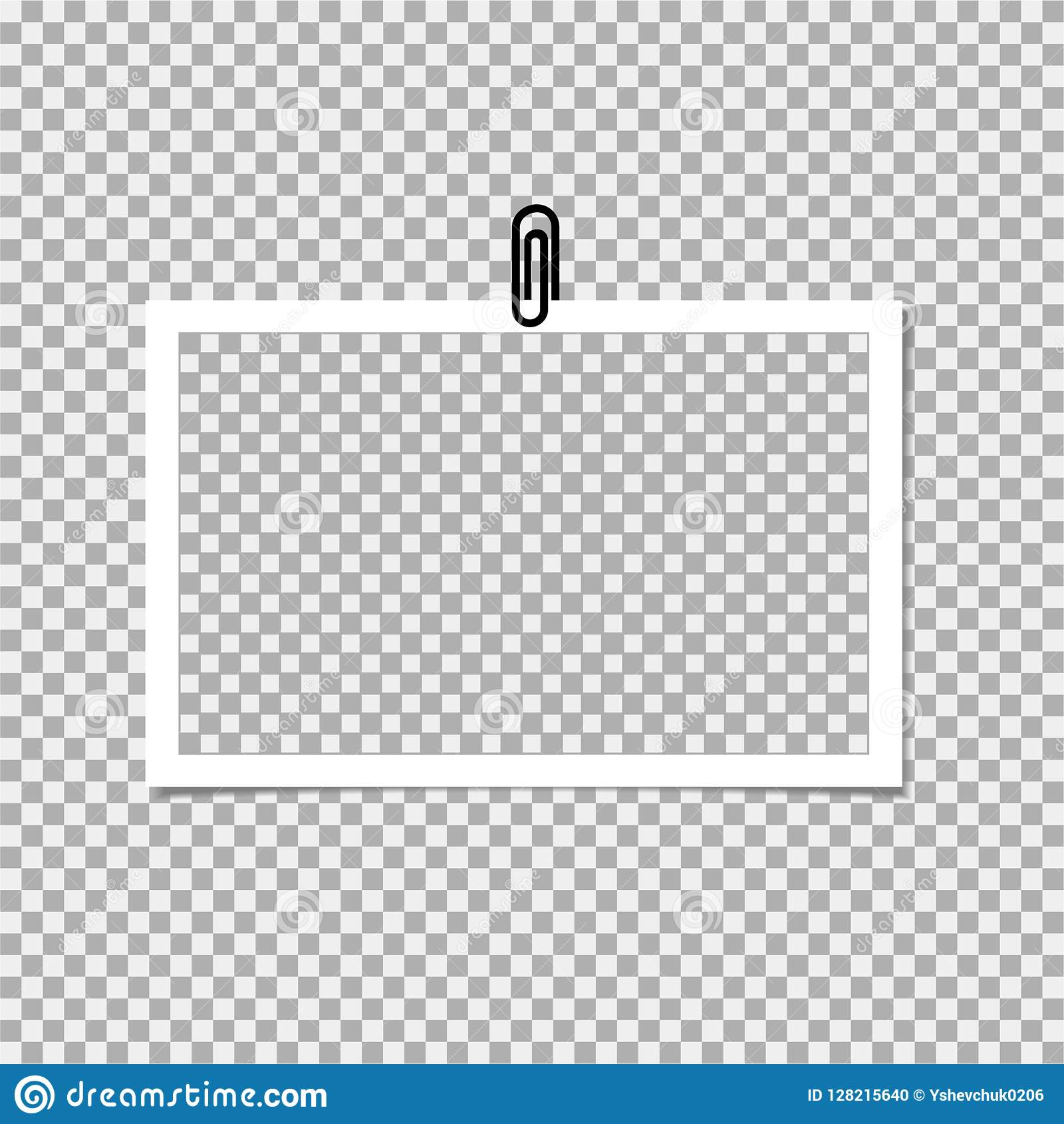 Photo Frame With Clip On Grey Background Vector Template Blank